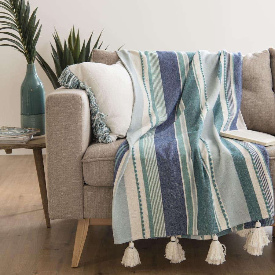 Manta de algodón de rayas azules y verdes 160x210