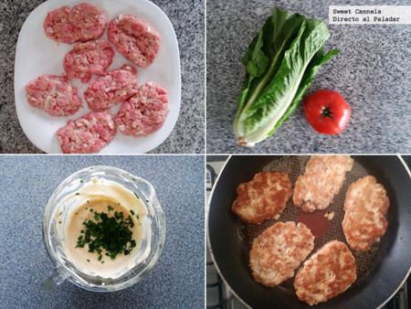 Preparación hamburguesas de atún