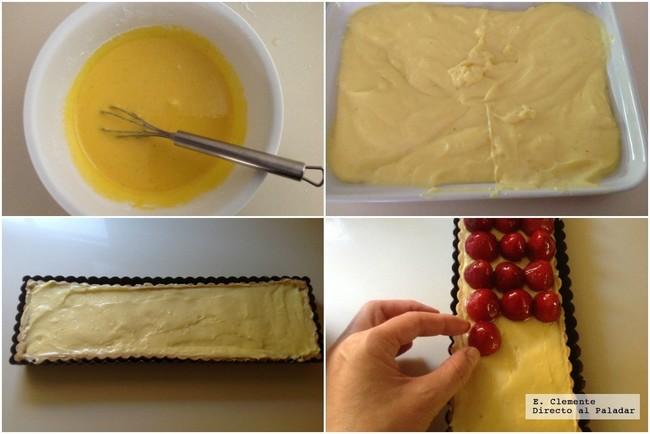 tarta de fresas y crema de vainilla