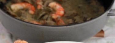 Alcachofas guisadas con cigalas. Receta de Navidad