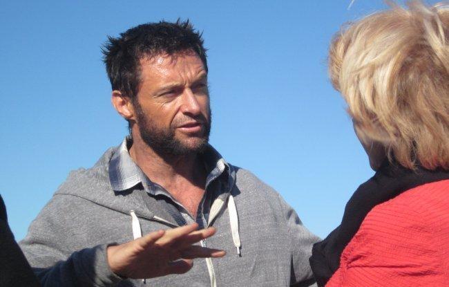 Hugh Jackman en un descanso del rodaje de The Wolverine
