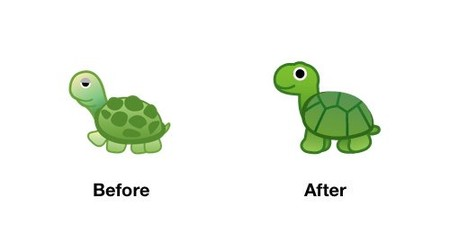 Turtle Emoji Android P Before After