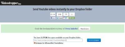 Videodropper, descargando vídeos directamente de YouTube hacia Dropbox