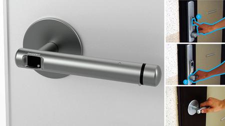 Control de huellas dactilares integrado en la manivela de la puerta