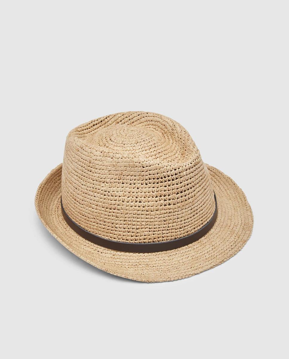 Sombrero de hombre rafia en color natural de aka estrecha