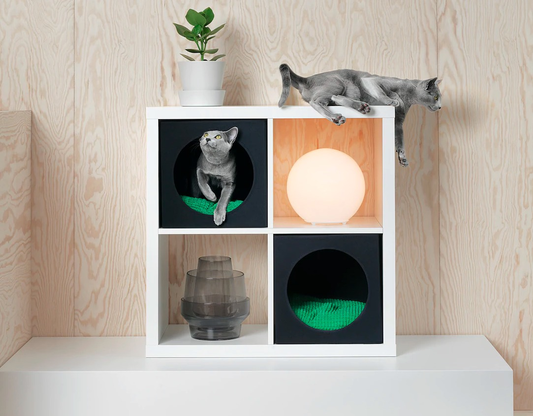 Casa para gatos, negro, 33x38x33 cm