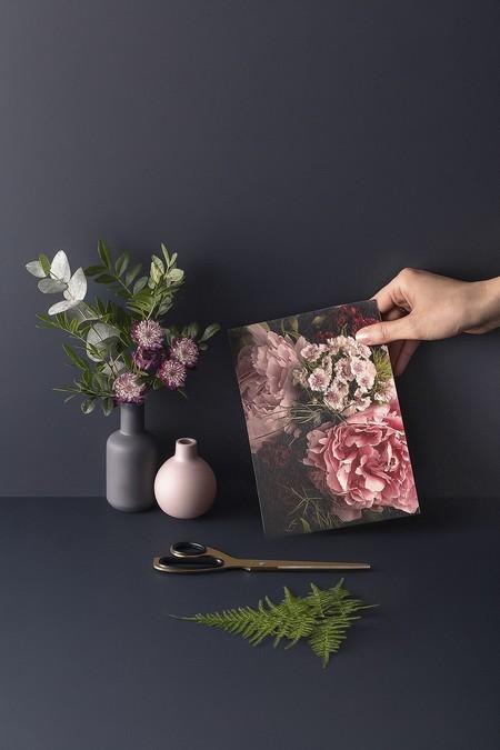 Papel Pintado Fotografico 3d Flores Rosa En Fondo Negro