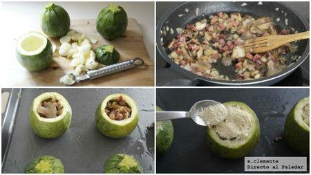 Calabacines rellenos de jamón y setas