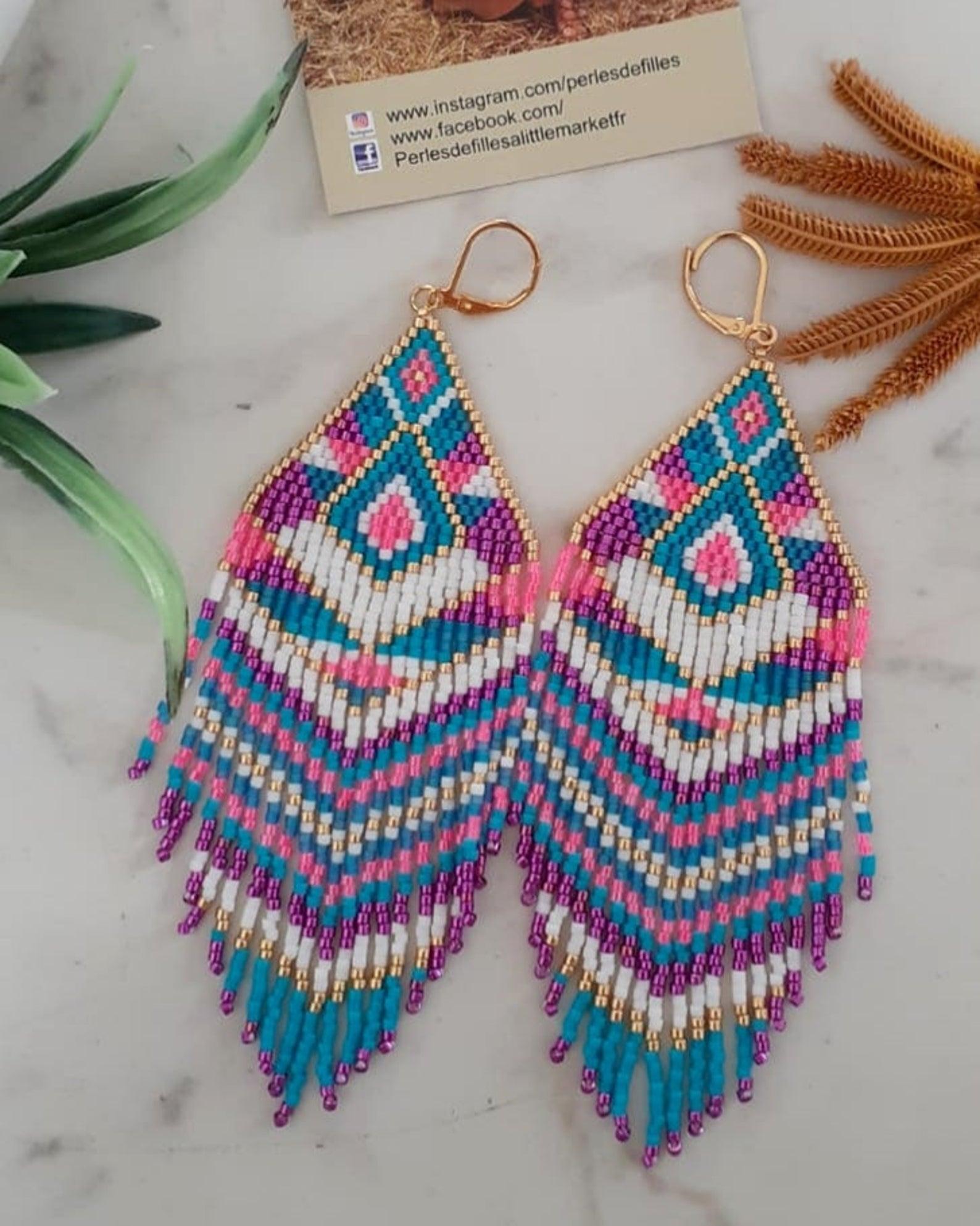 Pendientes rosa neón, blanco, turquesa, azul y oro
