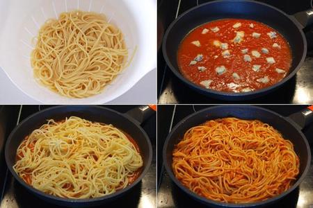 Spaghetti con salsa pomodoro al basilico Barilla y Gorgonzola