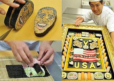 Sushi con la imagen de Obama