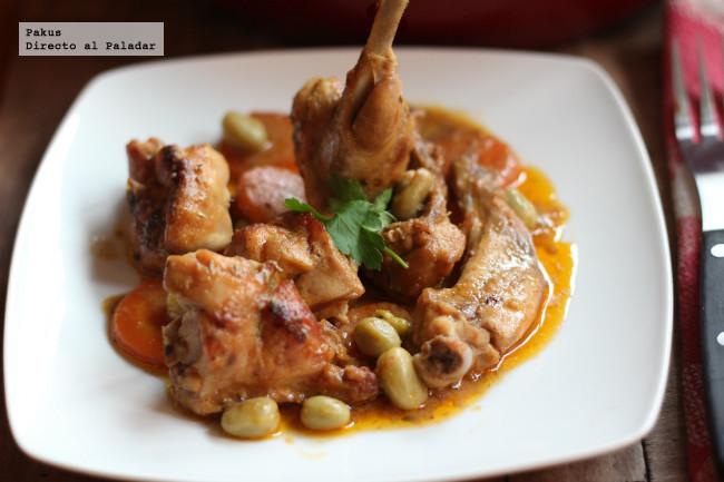 Receta de estofado de conejo con zanahorias y habas, fiesta en la mesa