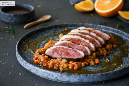 Magret de pato con verduras y salsa de naranja, la receta más fácil y rápida para el menú de Nochevieja o Año Nuevo