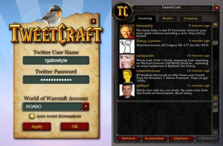 TweetCraft, cliente twitter para World of Warcraft