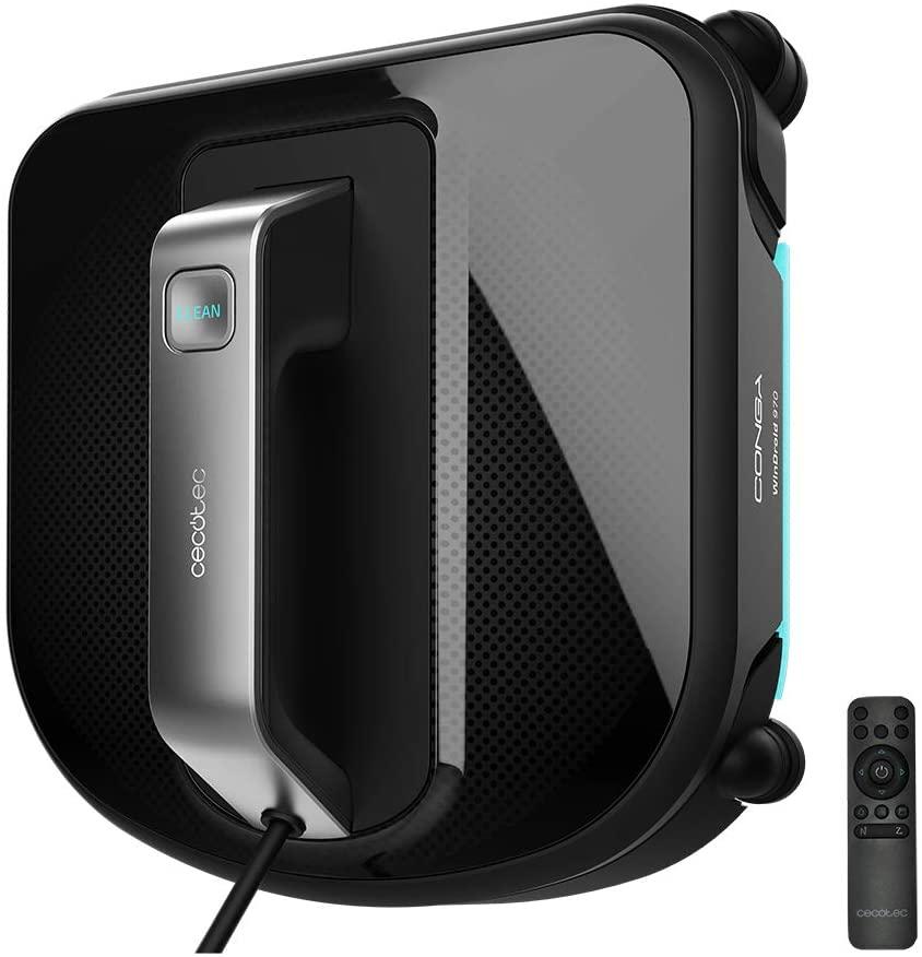 Cecotec Conga WinDroid 970 - Robot Limpiacristales, iTech WinSquare, Navegación Inteligente, Mopa Vibratoria, Limpieza en 5 Etapas, Diseño cuadrado, 5 Modos de Limpieza, Sistema Seguridad Integral