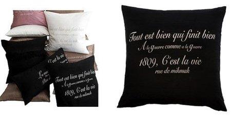 Cojines que decoran con frases en francés