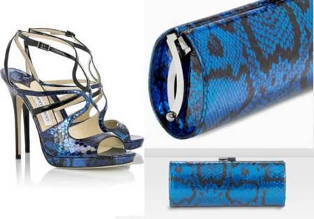 Sandalias metalizadas y de piel de víbora Orion de Jimmy Choo
