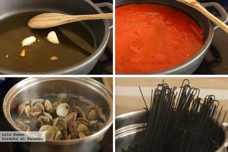 Espaguetis negros con chirlas paso a paso