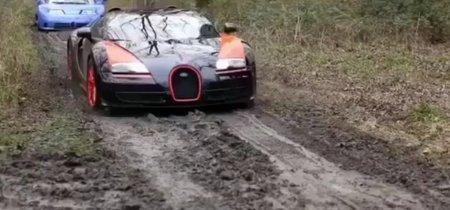 ¡Alucinante! Mira un Bugatti Veyron Super Sport, EB110, Lamborghini Miura SV, Countach y Ferrari LaFerrari haciendo off road