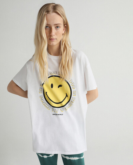 Camiseta De Mujer Manga Corta Con Dibujo Smileyworld