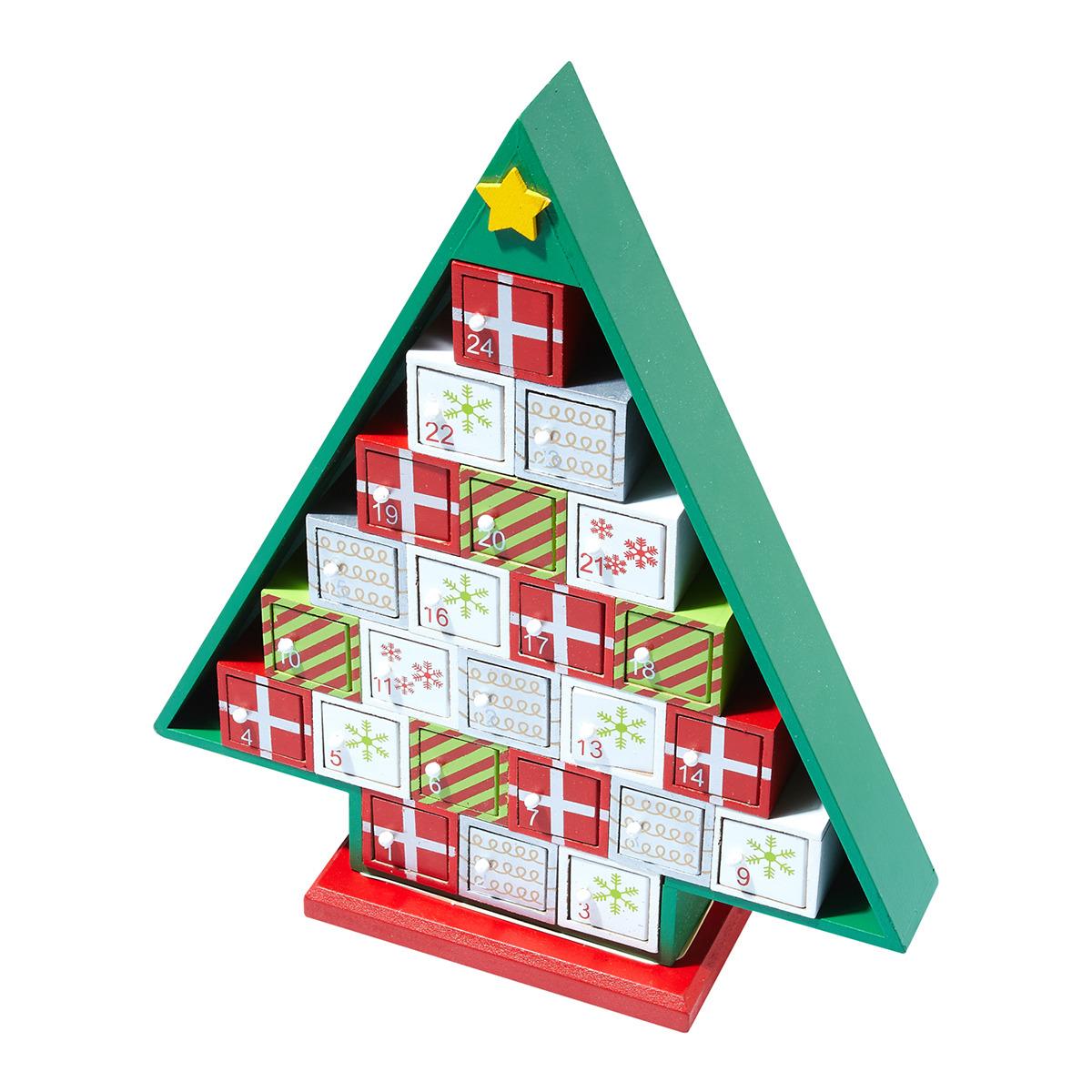 Calendario de adviento con forma de árbol de Navidad