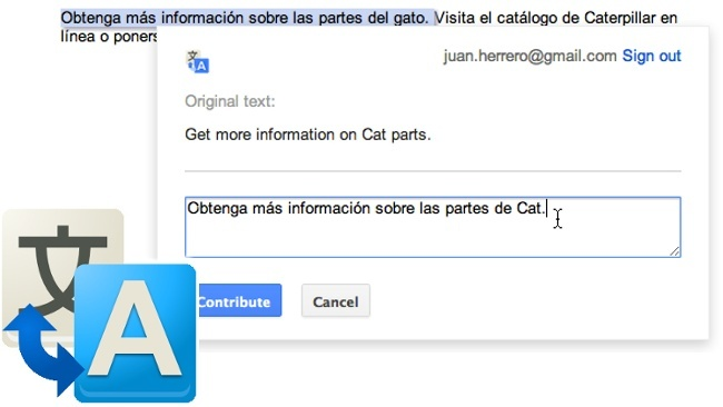 Google translate permite modificar las traducciones automáticas realizadas con su plugin