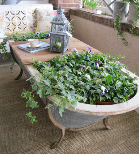 Una bañera para un baño de flores