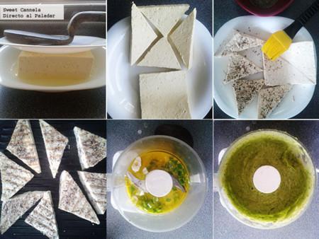 Preparación tofu al grill con salsa de aguacate