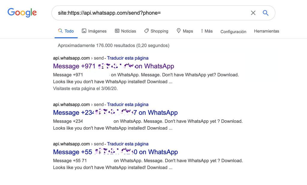Miles de números de WhatsApp de España y fuera quedan expuestos en Google con una simple búsqueda