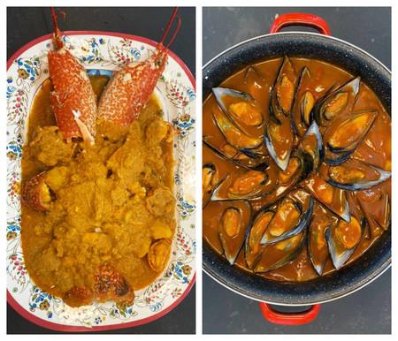 Bogavante Con Patatas Y Mejillones Con Patatas En Salsa Vizcaina