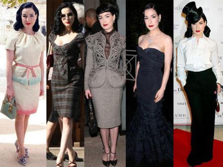 Los looks de Dita Von Teese en la Semana de la Moda de París