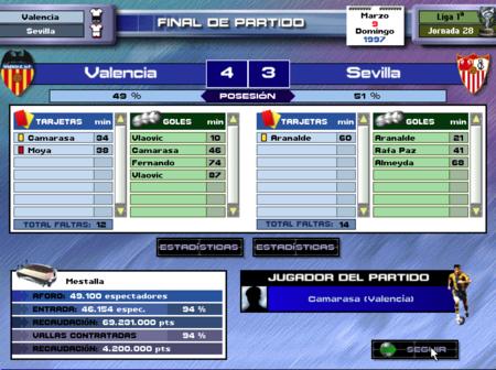 PC Fútbol 5.0 Victoria 4-3 al Sevilla