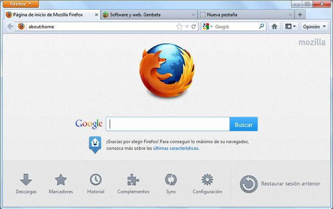 Firefox 13, página de inicio