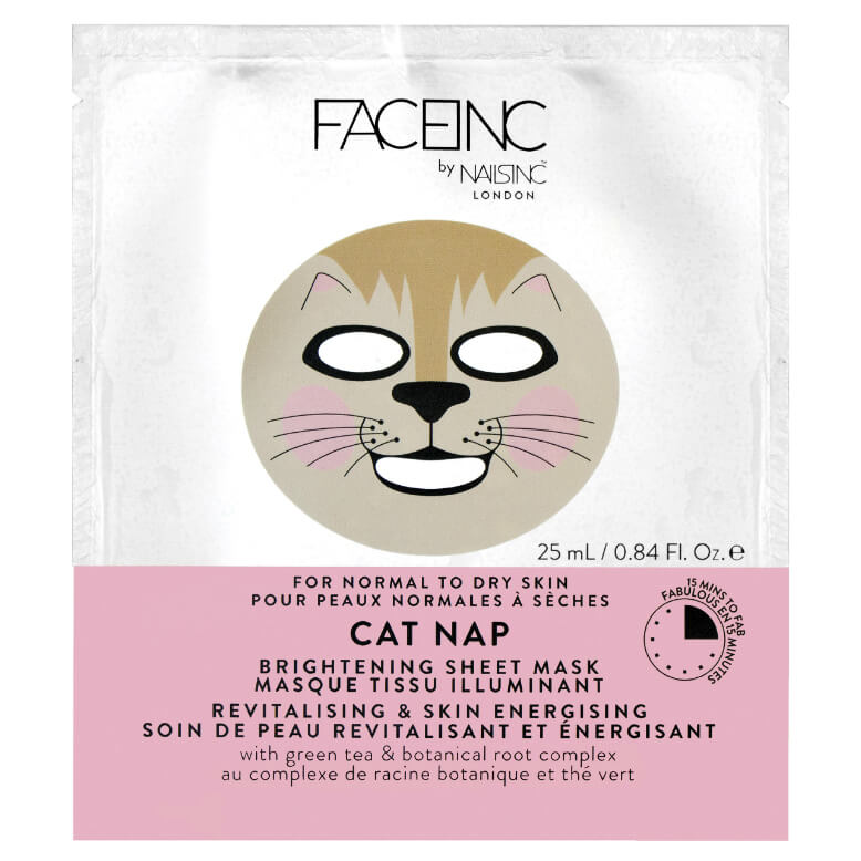 Mascarilla iluminadora Cat Nap de FACEINC by Nailsinc London