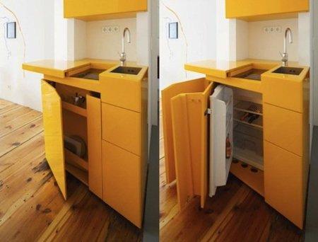 Puertas abiertas un mini loft - Mini cocinas compactas ...
