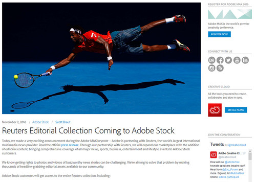 Adobe anuncia un acuerdo con Reuters y presenta novedades en sus apps durante el MAX 2016