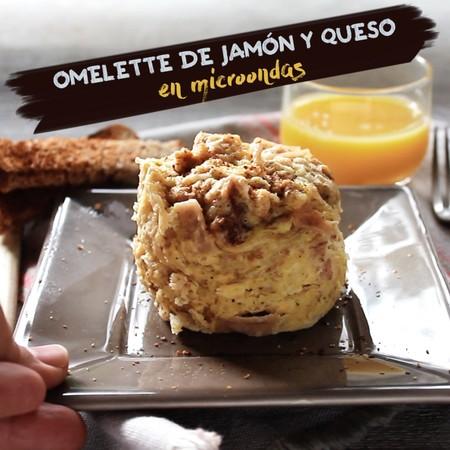 Omelette de jamón y queso en microondas. Receta de desayuno en video