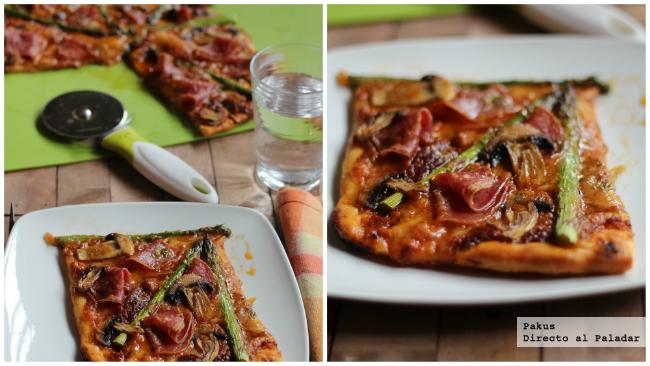 Pizza al pesto rojo con espárragos y salami