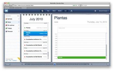 Capturas de la versión beta del nuevo calendario de MobileMe