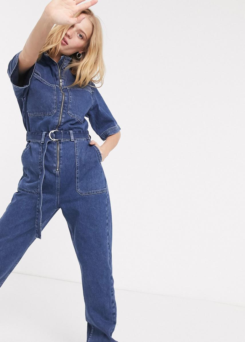 Mono estilo worker de denim con detalle anudado en la cintura en azul medio de Weekday