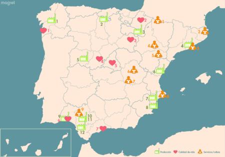 Castañuelas, quinoa y horas de sol al día: el mapa con las más inesperadas capitales de España