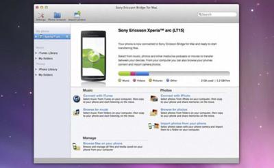 Xperia Bridge para Mac, gestor multimedia para los teléfonos móviles Sony Ericsson Xperia