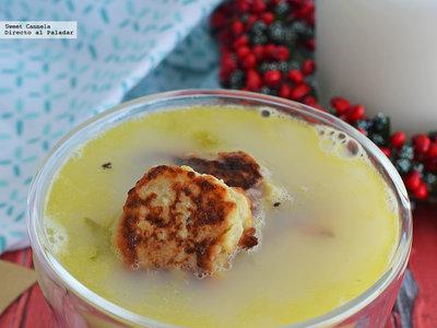 Sopa de apio con bolitas de papa. Receta