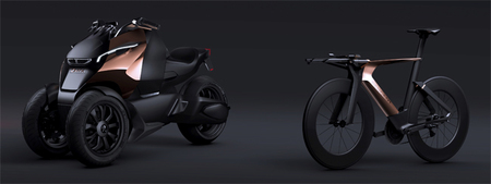 El prototipo Peugeot Onyx llegará acompañado de un triciclo híbrido y una bicicleta
