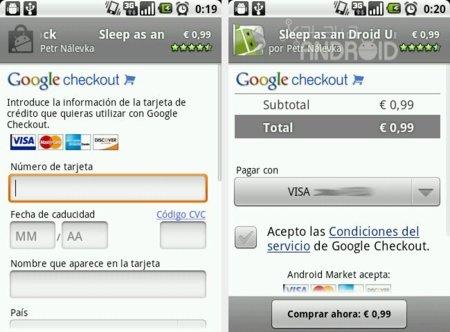 Datos de tarjeta en Android Market
