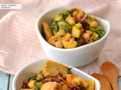 Ensalada con cerezas, garbanzos y alcachofas. Receta Saludable