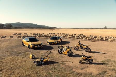 Honda celebra sus 50 años en Australia pintando de dorado un NSX, un Type R... y hasta un cortacésped