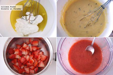 Cake de limón y lavanda con glaseado ligero de fresas. Receta para San Valentín. Pasos