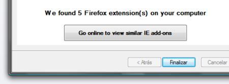 IE quiere importar extensiones desde Firefox