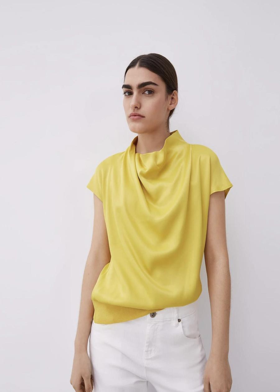 Blusa de mujer de manga corta efecto satinado